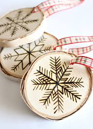 diy birch wood slice ornament with wood burned design birch