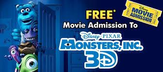 disney movie rewards free movie ticket monsters 3d