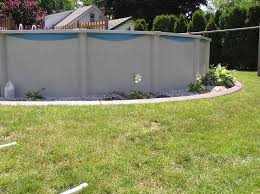 swimming pool landscaping above ground or in ground above