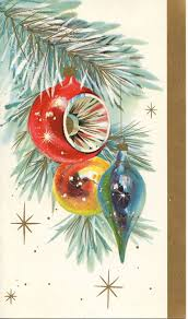 vintage mid century christmas card with red aqua u0026 gold sparkly