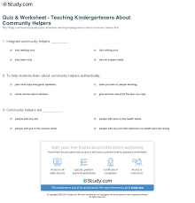 quiz u0026 worksheet teaching kindergarteners about community