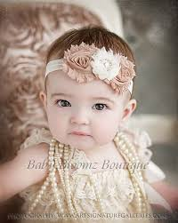 baby girl headbands and bows baby headband ivory beige vintage headband shabby headband