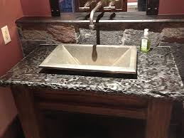 Granite For Bathroom Vanity Oval White Undermount Sink Integrated With Gray Granite Countertop