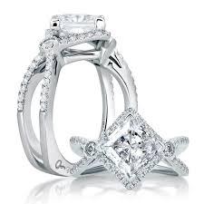 a jaffe u201cart deco u201d 14k white gold diamond engagement ring setting