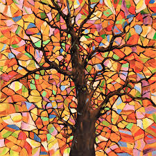 original abstract tree landscape painting stained glass tree