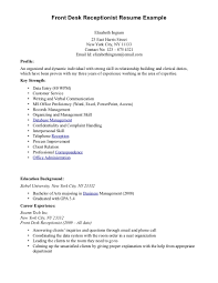 Sample Business Resume Front Desk Receptionist Sample Resume And Office Receptionist