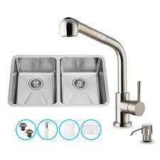 Vigo Kitchen Faucets Vigo Vg15234 All In One 29 Undermount Stainless Steel Double Bowl