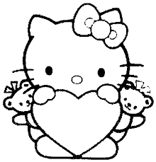 kitty love heart coloring pages free printable coloring