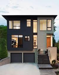 modern architecture minimalist house with black facade design
