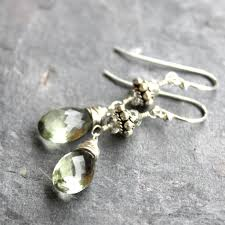 green amethyst earrings green amethyst earrings sterling silver prasiolite gemstones with