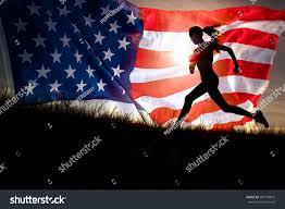 American Flag Sunset Running Woman Runner Jogging Over Sunset Stock Photo 200174873