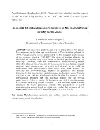 economic liberalization and its impacts on the manufacturing