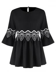 black blouse with white collar blouses for cheap blouse sale rosegal com