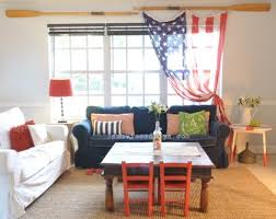 Patriotic Decorating Ideas In Red White And Blue Completely Coastal - Red and blue living room decor