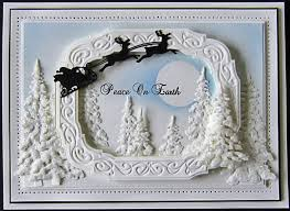 white winter night scene christmas holiday card by sue wilson