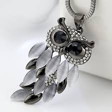 owl jewelry necklace images Lovely owl rhinestone pendant with chain necklace for women owloveme jpg