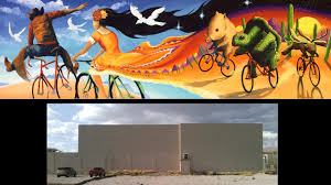 huge cycling bike mural for tucson arizona by joe pagac donate now to help me paint a giant cycling mural on the side of epic rides in downtown tucson where aviation highway is being built