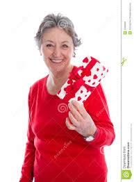 grandmother gift grandmother with a gift for s day elder woman isolated