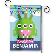 Happy Birthday Flags Monster Birthday Cake Happy Birthday Personalized Party Banner