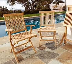 Foldable Outdoor Chairs Larkspur Teak Folding Chairs Pottery Barn