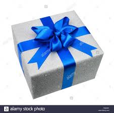 gift box with ribbon silver gift box with blue ribbon and a fancy bow studio