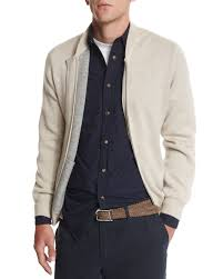 brunello cucinelli double face cashmere zip up sweater in natural