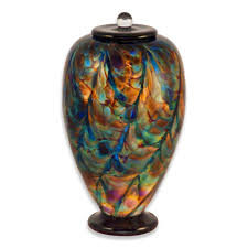 funeral urn blown glass cremation urn for adults in deco evening urns