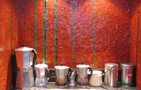 red kitchen mosaic design with mixed glass tiles kitchen