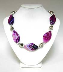 designer handmade jewellery purple agate gemstones and silver necklace handmade jewelry
