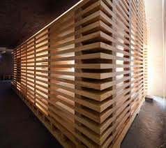 modular wooden tree of chapel features slatted walls for