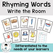 rhyming word activity write the room little lifelong learners