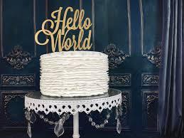 hello world cake topper baby shower cake topper gender reveal