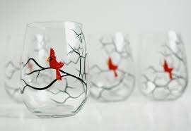 christmas glasses christmas cardinals stemless wine glasses set of 6