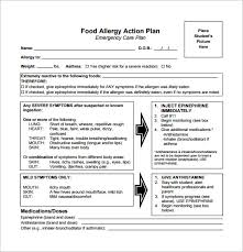 allergy action plan template 9 free word excel pdf format