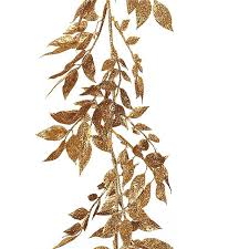 artificial glitter leaf garland gold silver luxury