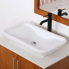 elite ceramic bathroom sink with unique rectangle design tr40155