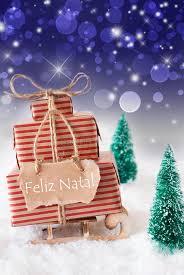 vertical sleigh blue background feliz natal means merry