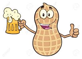 beer cartoon funny peanut cartoon character holding a beer and thumb up stock