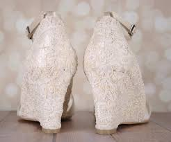 wedding wedges shoes ivory lace wedding wedges with chiffon straps ellie wren