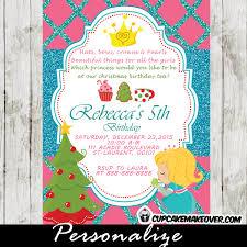 princess tea party christmas birthday invitation red u0026 green