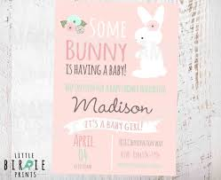 rabbit baby shower bunny baby shower invitation girl baby shower invitation baby shower