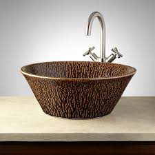 brown round vessel sink signature hardware
