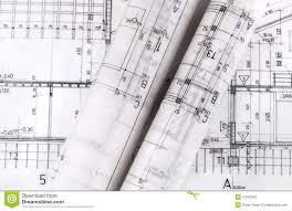 architecture rolls architectural plans architect blueprints stock
