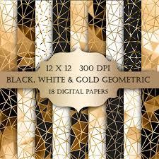 White And Gold Wedding Invitation Cards Gold Geometric Digital Paper Black White Gold Glitter Triangles