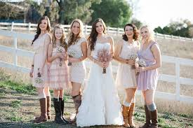 what to wear to a country themed wedding outdoor wedding country western footwear pastel printed bridesmaid