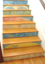 painted stair risers eclectic staircase los angeles