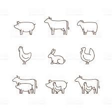 farm animal outline icon set stock vector art 595125428 istock