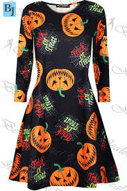 ladies pumpkin scary bats skulls smock skater dress womens