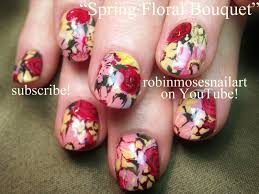 diy nail art design vintage flower bouquet for short nails youtube