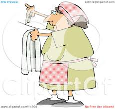 Woman Hanging Clothes On A Line To Dry In The Sunshine Clipart